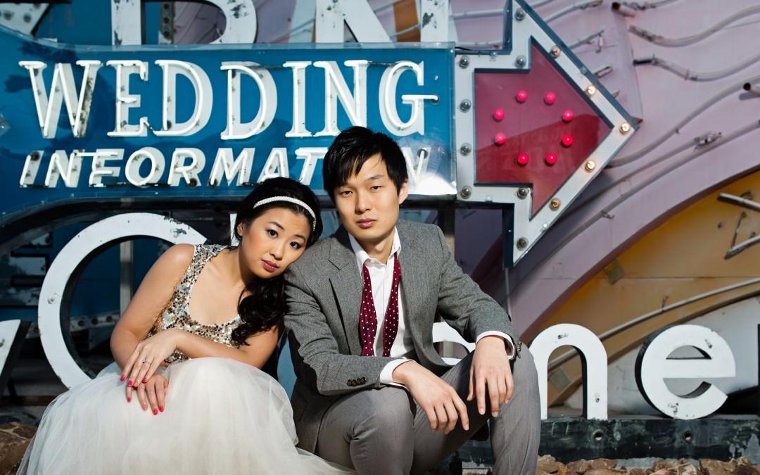 Las Vegas Asian Pre Wedding Photography | Las Vegas Engagement Photographers | Neon Museum